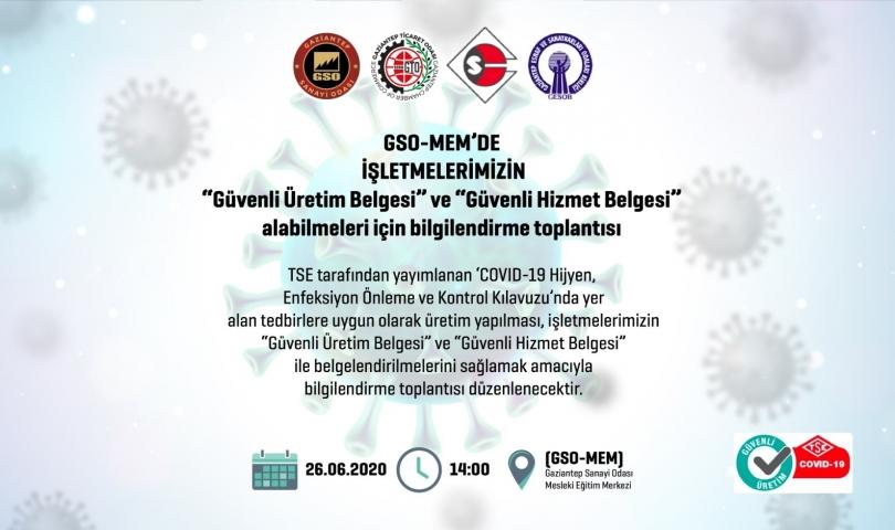 GSO-MEM'de TSE güvenli üretim ve güvenli hizmet belgesi toplantısı